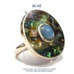 bague ring pawa nacre abalone blue stone bijou larimar