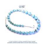 collection Les Classics by Blue Stone collier argent plaqué or perle de culture et de Tahiti boule Larimar - Larimar stone pearls necklace - collar de plata y larimar