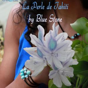 bijou perle de Tahiti larimar argent rhodié rhodium silver Tahiti pearls Larimar joyería rodio plata perlas de Tahití y larimar