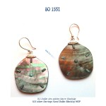 BO earrings argent 925 silver nacre MOP sand dollar des sables
