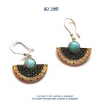 boucles-d'oreilles earrings argent 925 silver larimar galuchat shagreen