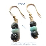 bijou jewel larimar bo earrings blue stone argent 925 silver agate agata classico